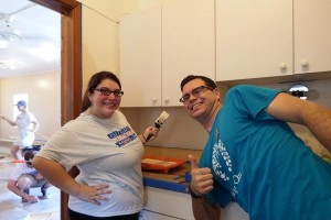 Volunteers painting at Little House