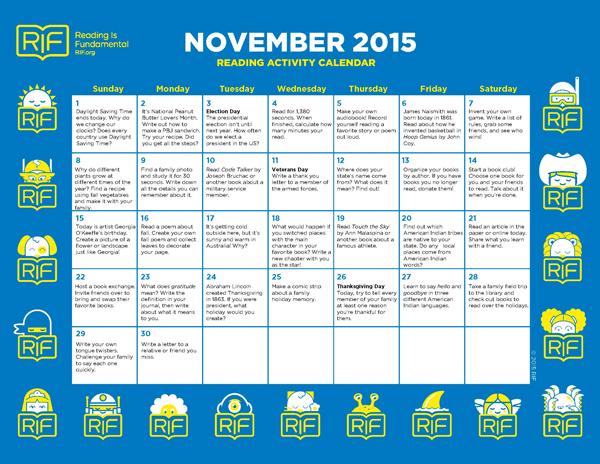 november reading calendar